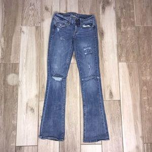 American Eagle Distressed Slim Bootcut Jeans